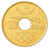 25 spanish pesetas coin — Stock Photo