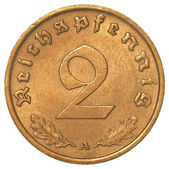 Two german 3rd riech pfennig coin — Stock Photo