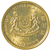 5 singaporean cents coin — Stock Photo