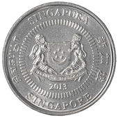 50 singaporean cents coin — Stock Photo