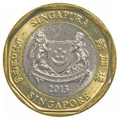 One singaporean dollar coin — Stock Photo