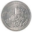 American one quarter coin - acadia national park — Stock Photo