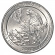 American one quarter coin - el yunque national park — Stock Photo