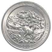 American one quarter coin - denali national park — Stock Photo