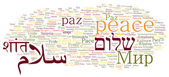 Peace in different languages — Stok fotoğraf