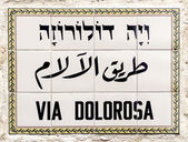 Via dolorosa Street sign — Stock fotografie