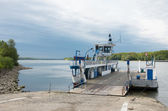 Transport ferry docking on the banks of the danube river — Stock Photo
