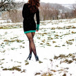 Spring snow girl — Stock Photo