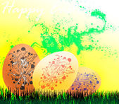 Abstracting Easter eggs on a yellow background vector — Stock Photo