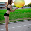 Sport girl with fitness ball — Stock Photo