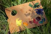 Palette avec peinture à l'huile couché sur l'herbe — Photo
