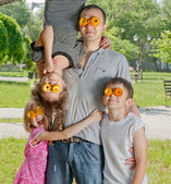 Crazy day of fathers in a park — Stock Photo