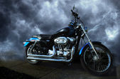 Motorcycle on Storm — Stock Photo