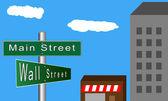 Main Street versus Wall Street — Stock Vector