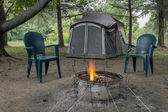 Camping Fire and tent — Stock Photo