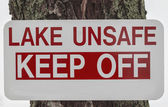 Unsafe Lake Sign — Stock Photo