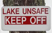 Unsafe Lake Sign — Stock Photo