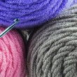 Rolls of Yarn and Hook — Stock Photo