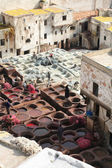 Ancient leather taning in Fez — Stock Photo