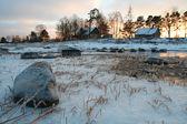 氷のような草原の横にある家 — ストック写真