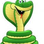 Cartoon illustration of a green snake — Stock Vector #22828176