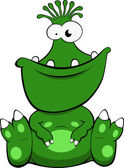 Illustration of a cute green monster — Stock Vector