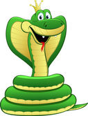 Cartoon illustration of a green snake — Stock Vector