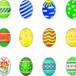 Stock Vector: Set of twelve easter eggs isolated on white (3D render)