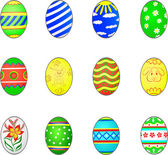 Set of twelve easter eggs isolated on white (3D render) — Stock Vector