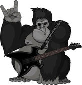 Illustration: monkey with a guitar — Stock Vector