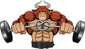 Illustration: a strong angry bull — Vector de stock