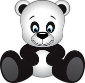 Cute little panda sitting on a white background — Stock Vector