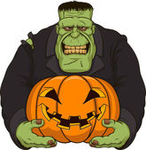 Zombie Frankenstein with pumpkin — Stock Vector