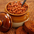 Baked Beans And Brown Bread Setting — Stock Photo #23117676