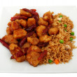 Orange Chicken And Rice In Plate - Stock Photo