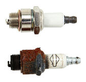 Top View Of New And Used Spark Plugs — Stock Photo