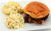 BBQ Sandwich With Slaw And Mashed Potatoes — Stock Photo