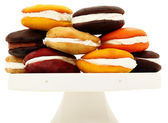Platter Stacked With Variety Of Whoopie Pies — Stock Photo