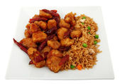 Portakal tavuk ve pirinç levha — Stok fotoğraf