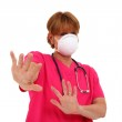 Nurse With Mask Staying Away — Stock Photo