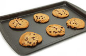 Chocolate Chip Cookies On Baking Sheet — Stock Photo