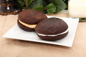 Whoopie Pies On Plate — Stock Photo