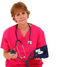 Nurse Holding Blood Pressure Monitor — Stock Photo