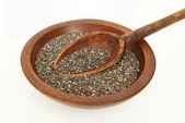Wooden Spoon In Chia Seeds — Stock Photo