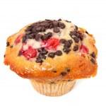 Cherry Chocolate Chip Muffin On White — Stock Photo #34108531