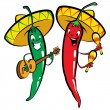 Red and green hot chili character peppers music group — Imagen vectorial