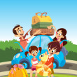 Family preparing for vacations — Vector de stock