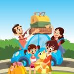 家族休暇のための準備 — ストックベクタ