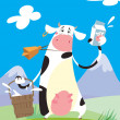 Cow with a milk package and a bucket — Imagens vectoriais em stock