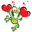 Stock Vector: Crazy frog in love